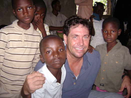 Bruce with kids at Pastor Wino's Church